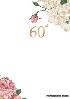 DIY Birthday Invitation 60th Birthday Invitation Instant Download Birthday Dinner Invitation White and Gold Birthday Invitation BD86