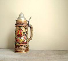 German Beer Stein Vintage Stoneware Tankard Mug Barware by gazaboo,