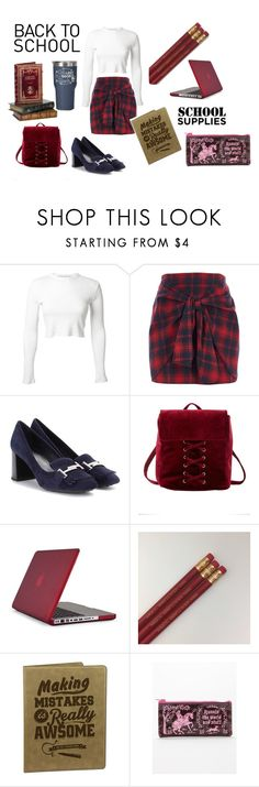 """""""Preppy Back to School"""" by newfoundlandlass ❤ liked on Polyvore featuring Rosetta Getty, River Island, Tod's, Charlotte Russe and Speck"""