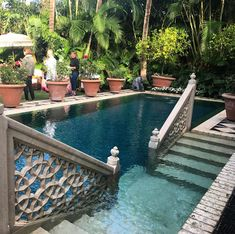 One of the best pools that I have ever seen. This was in a Moroccan inspired pri… One of the best pools that I have ever seen. This was in a Moroccan inspired private garden in Palm Beach. Small Backyard Pools, Backyard Patio, Outdoor Spaces, Outdoor Living, Kleiner Pool Design, Piscina Interior, Small Pool Design, Luxury Pools, Beautiful Pools