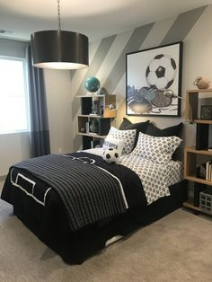 teen boy room with sports themeboys room ideas, boy bedroom decor, boy bedroom design, boy bedroom furniture, boy room artwork ideas Cool Bedrooms For Boys, Boys Bedroom Decor, Awesome Bedrooms, Budget Bedroom, Teen Boy Bedrooms, Preteen Boys Bedroom, Bedroom Ideas For Teen Boys, Boys Room Paint Ideas, Modern Boys Bedrooms