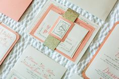 Coral and Gold Invites with Glitter Belly Band