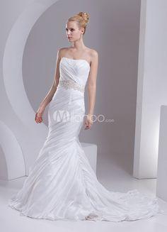 Taft Mermaid-Hochzeitskleid mit trägerlosem Design und Deko-Applikation in Elfenbeinfarbe, mit Schleppe - Milanoo.com