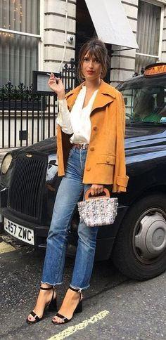 fall street style. yellow jacket. denim.