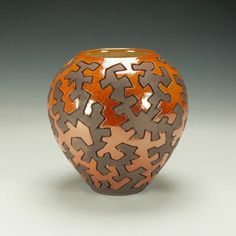 Raku Puzzle Pottery.  Hand carved and glazed.  by TimcoArtPottery