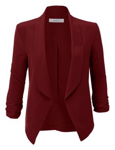 LE3NO Womens Lightweight Ruched 3/4 Sleeve Open Front Blazer Jacket