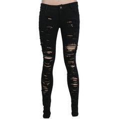 Women's Punk Black Ripped Jeans