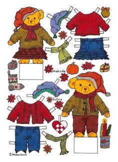 Karen`s Paper Dolls: Matilde and Sofus Christmas Cut-outs to Print in Colours. Matilde og Sofus Jule klippeark til at printe i farver.