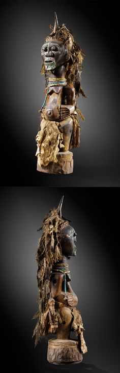 Africa | Powerful nkisi figure from the Songye people of DR Congo | Wood, leather, glass beads, metal, animal skins and leather Sculpture Images, African Sculptures, Art Premier, Art Africain, Africa Art, African Artists, Black Artwork, Soul Art, Masks Art