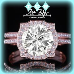 Moissanite Engagement Ring and Matching Band 7mm, 1.2ct Custom Cut Moissanite in a 14k White Gold Diamond Halo Setting