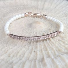 White Coral bracelet with zirconia pink sterling by CharmByIA