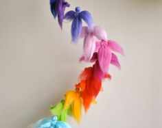 Children mobile Waldorf inspired needle felted : The rainbow colors fairies Waldorf Crafts, Waldorf Toys, Felt Crafts, Diy And Crafts, Crafts For Kids, Felt Fairy, Needle Felted, Felt Ball, Baby Decor