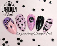Creepy Cute Pastel Goth Nails Kawaii Grunge Nail by BaroquenNails Grunge Nail Art, Goth Nail Art, Halloween Nail Designs, Halloween Nail Art, Glue On Nails, My Nails, Dark Nails, Pastel Goth Nails, Nails First