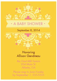 Baby shower invite, offered in lavender