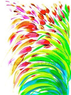 Abstract Flower Original Acrylic Painting - Modern Home Decor - Neon. $40.00, via Etsy.