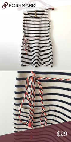 Boden Tunic Dress Cute tunic striped dress with a colorful string belt. 100% cotton. 2 front pockets. Length finishes at low thigh. Also great with leggings. Worn only a couple times in excellent condition. European size 4 short fits 0/2 petite. Boden Dresses