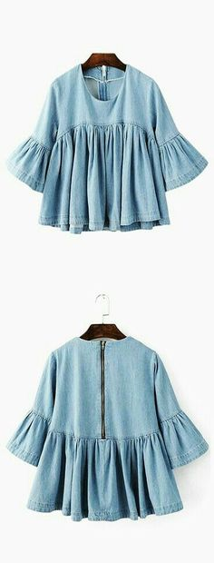 Online shopping for Blue Bell Sleeve Ruffle Denim Doll Blouse from a great selection of women's fashion clothing & more at MakeMeChic. Trend Fashion, Look Fashion, Womens Fashion, Fashion Rings, Spring Summer Fashion, Autumn Fashion, Looks Street Style, Mode Style, Passion For Fashion