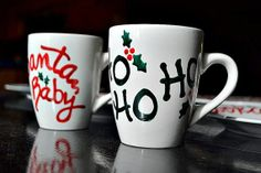 Christmas Mugs Hand Painted by ReinventingOrdinary on Etsy, $15.00