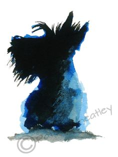 Scottish Terrier Dog , printed on Fine quality paper, 300gsm.  Printed with UltraChrome K3 pigment ink.  8 X 6 Inches  Initialed on the front,