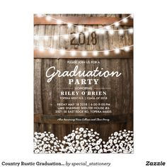 Country Rustic Graduation Party | Class of 2018 Ca Card