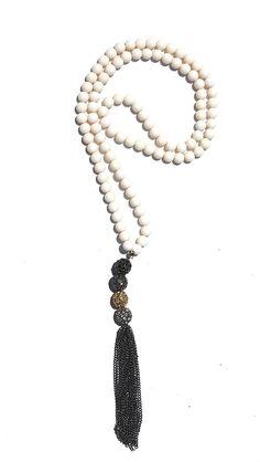 Hematite Pave Tassel Necklace