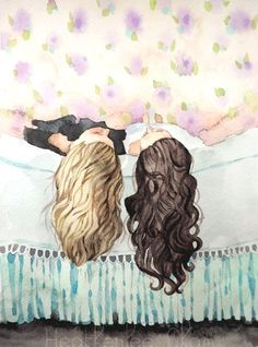Best Friends Art - Sisters - Watercolor Painting by Heatherlee Chan Bff Drawings, Drawings Of Friends, Art And Illustration, Friends Illustration, Painting Prints, Painting & Drawing, Wow Art, Belle Photo, Amazing Art