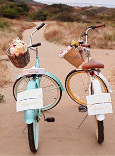 His and her just married vintage wedding bikes!...sarah layne photography, san diego