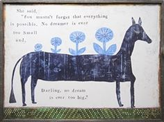 blue horse with flowers deliver a message to dream.inspirational art statement in a youth bedroom or playroom.