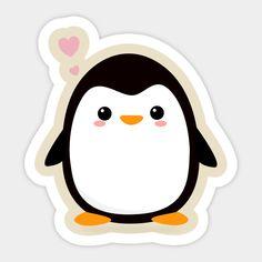 Kawaii Penguin T-Shirt Stickers Kawaii, Preppy Stickers, Cool Stickers, Printable Stickers, Cute Food Drawings, Art Drawings For Kids, Easy Drawings, Emoji Drawings, Kawaii Drawings
