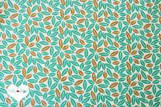 BOTANICAL+Blätter+Stoff+❧+mint+weiß+Baumwollstoff+von+Villa+❤+Stoff+auf+DaWanda.com
