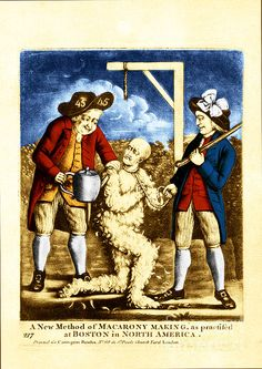 """""""A new method of macarony making, as practiced at Boston in North America."""" This illustration depicts two American revolutionaries tarring and feathering a tax collector under the gallows."""