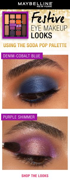 The holidays call for festive makeup looks! Our NEW Soda Pop Eyeshadow Palette is the only palette you need to recreate these dreamy shimmery eye looks. Make eyes pop in a purple hue or go bold with a cobalt blue eyeshadow. Pair the look with a nude lip and you're holiday party-ready! Shop the palette on Amazon! Beautiful Eye Makeup, Love Makeup, Diy Makeup, Makeup Tips, Beauty Makeup, Makeup Looks, Makeup Tutorials, Makeup Ideas, Maybelline Eyeshadow