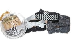 GLITZ: 5-Pack Hair Ties (pony)/Bracelets Fashion FLEXYs® in Bling Ball Ornament. Clicks open. Perfect #party #favor for #showers, #birthdays, #stocking stuffers,...