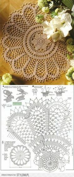 """""""knit and crochet"""", """"This post was discovered by Bea"""" Crochet Mat, Crochet Doily Diagram, Crochet Dollies, Crochet Cushions, Crochet Flower Patterns, Crochet Tablecloth, Doily Patterns, Crochet Home, Thread Crochet"""
