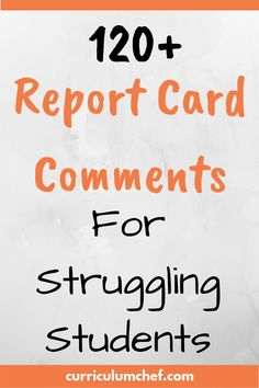 These report card comments targeted to struggling students and those with significant weaknesses will save you time and overwhelm. Preschool Report Card Comments, Teacher Comments, Report Comments, Teacher Blogs, Teacher Hacks, Teacher Resources, Teacher Education, Physical Education, Notes To Parents