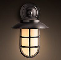"RH Starboard Milk Glass Sconce With Shade Bronze, Small: $319, 10""L x 8¼""W x 11½""H; 5.5 lbs.,  Large: $389, 12¼""L x 10½""W x 15""H; 7.5 lbs."