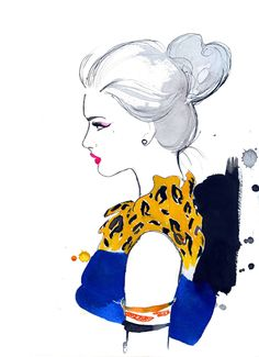 Watercolor Fashion Illustration - Cheetah Chic print. $25.00, via Etsy.