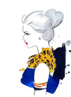 Watercolor Fashion Illustration - Cheetah Chic print. $25.00, via Etsy.
