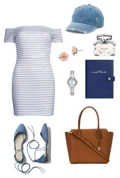 """Off shoulder dress"" by gwaihape ❤ liked on Polyvore featuring WithChic, MICHAEL Michael Kors, kikki.K, Mudd, Gap, Armitron, 1928 and Gucci"
