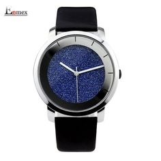 Ladies gift stylish watch Enmex creative design starlight with simple face mirror edge scale leather quartz fashion wristwatch