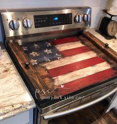 Rustic Americana Decor, Americana Kitchen, Rustic Decor, Coastal Decor, Country Decor, Wooden Stove Top Covers, Stove Covers, Stove Board, Red Kitchen Decor