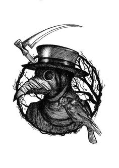 This image shows a spooky drawing of a plague doctor. There is a tree branch which forms a circular border around him with an axe coming from behind. There is a crow sitting on an edge of the circular border. Such a tattoo drawing design is mostly common with middle aged individuals who are looking for some dark enigmatic inspiration. #tattoofriday #tattoos #tattooart #tattoodesign #tattooidea