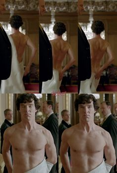 BBC's Sherlock...Sir Arthur Conan Doyle is probably rolling over in his grave. But nobody cares b/c Sherlock is now sexy. Yum!