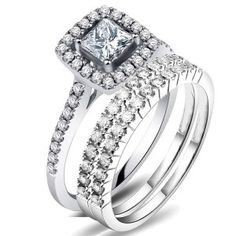 2 carat princess cut diamond trio bridal set on closeout sale on 10k white gold