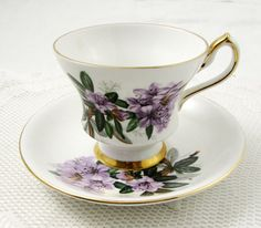 Vintage Tea Cup and Saucer, White with Purple Flowers, Made by Windsor, English Bone China