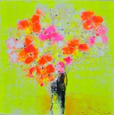 Sunshine - 140 x 140th A semi abstract floral painting by Tove Andresen.