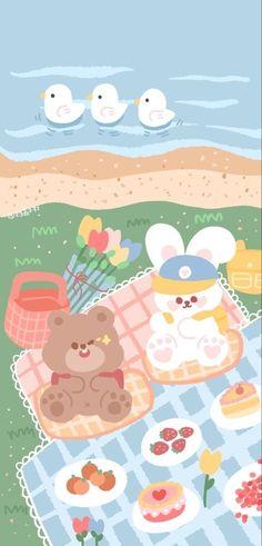 Cute Pastel Wallpaper, Soft Wallpaper, Bear Wallpaper, Cute Patterns Wallpaper, Aesthetic Pastel Wallpaper, Cute Anime Wallpaper, Wallpaper Iphone Cute, Kawaii Background, Cartoon Background