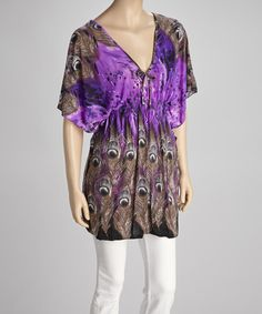 Take a look at this Purple Peacock Cape-Sleeve Top by India Boutique on #zulily today!