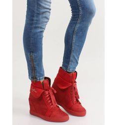 Sneakersy zamszowe B12-22 Red - Sklep IMMODA.pl Sportowe obuwie damskie Wedges, Sneakers, Shoes, Fashion, Tennis, Moda, Slippers, Zapatos, Shoes Outlet