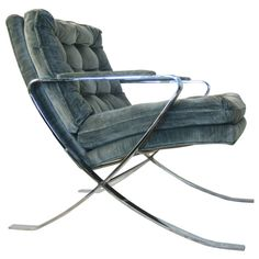 Stylish Blue Velvet Flair Chair Inspired by Milo Baughman | From a unique collection of antique and modern club chairs at http://www.1stdibs.com/furniture/seating/club-chairs/